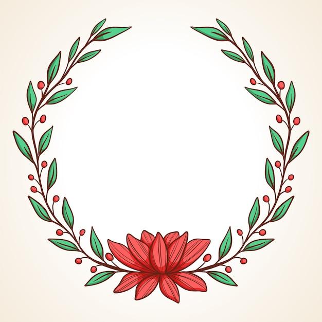 Struttura di vettore disegnato a mano corona floreale con foglie per matrimonio e vacanze elementi decorativi per il design Vettore Premium