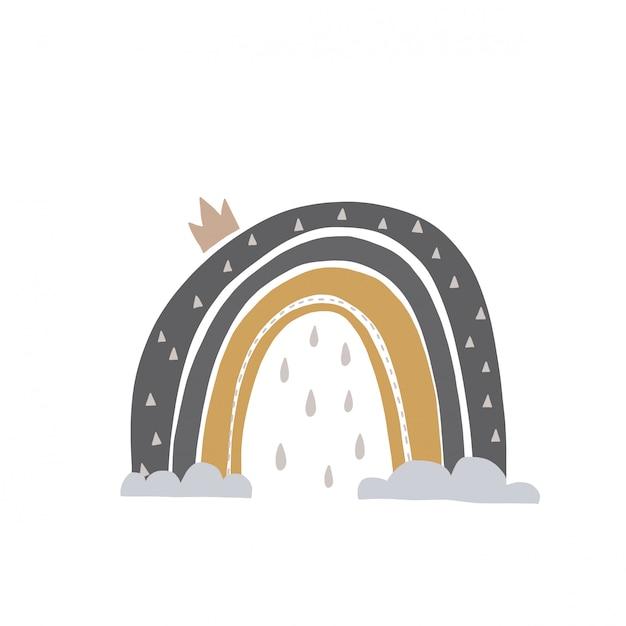 Illustrazione disegnata a mano di un arcobaleni svegli. design piatto in stile scandinavo per bambini. il concetto di tessuti per bambini, tazze, cartoline, baby shower, copertine. Vettore Premium