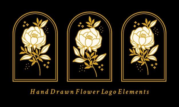 Collezione di elementi logo fiore di peonia botanica vintage disegnata a mano Vettore Premium