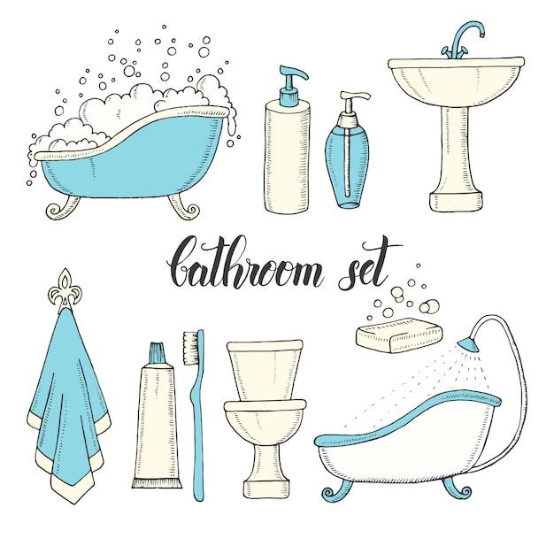 Insieme di oggetti vintage disegnati a mano dal bagno. Vettore Premium