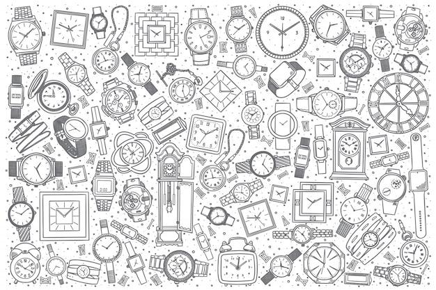 Negozio di orologi disegnati a mano Vettore Premium