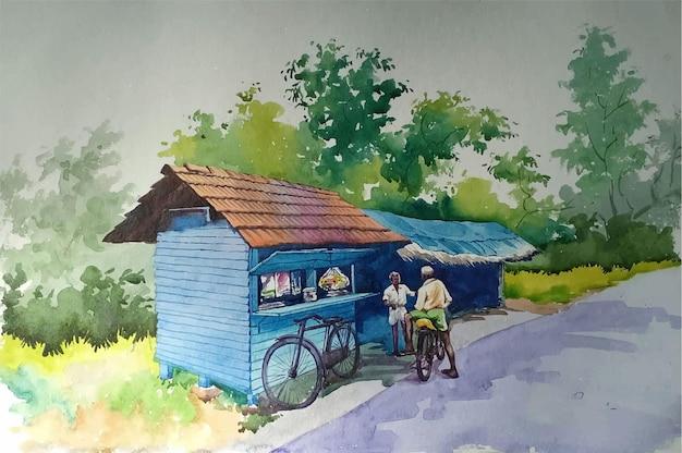 Vecchia casa colonica dell'acquerello disegnato a mano nell'illustrazione di boschi Vettore Premium