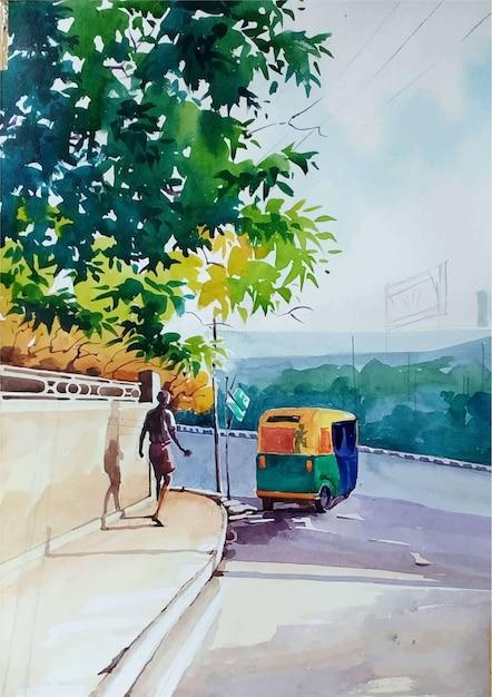 Persona dell'acquerello disegnato a mano sull'illustrazione della strada Vettore Premium