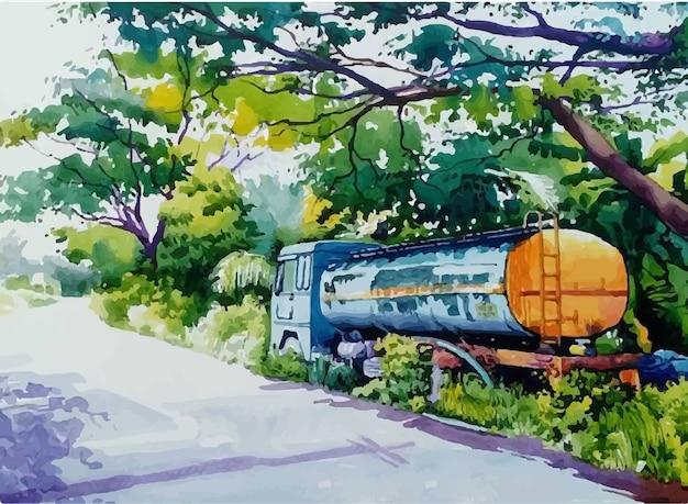 Strada di camion dell'acquerello disegnato a mano nell'illustrazione della città Vettore Premium