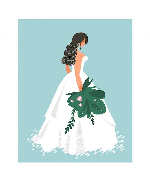 Nozze disegnate a mano da sposa in abito bianco illustrazione su sfondo blu Vettore Premium