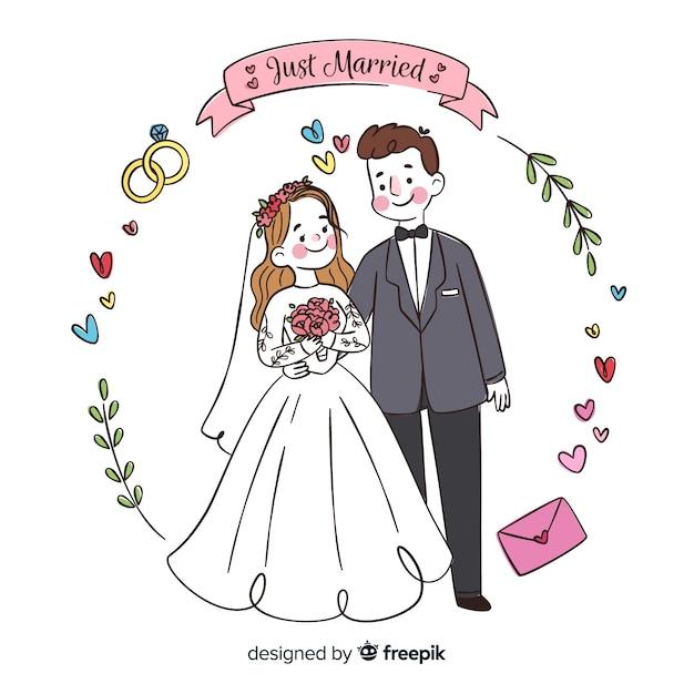 Sfondo di coppia matrimonio disegnato a mano Vettore Premium