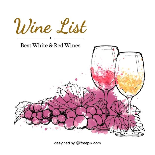 Mano carta dei vini disegnato Vettore Premium