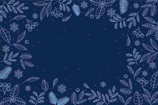 Sfondo invernale disegnato a mano con spazio vuoto Vettore Premium