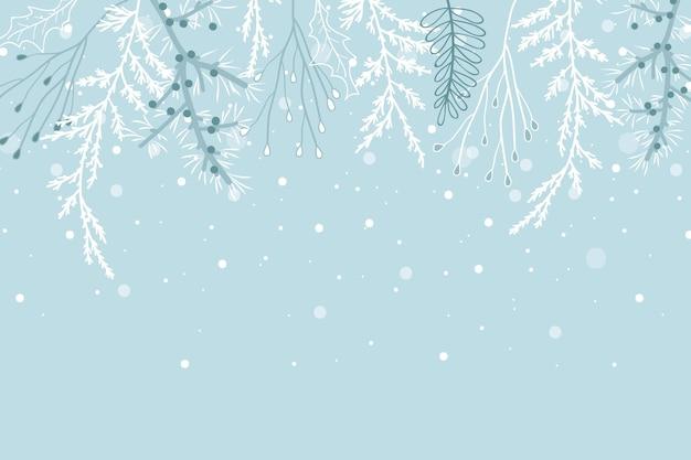 Sfondo invernale disegnato a mano Vettore Premium