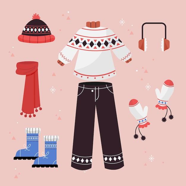 Abbigliamento invernale ed elementi essenziali disegnati a mano Vettore Premium