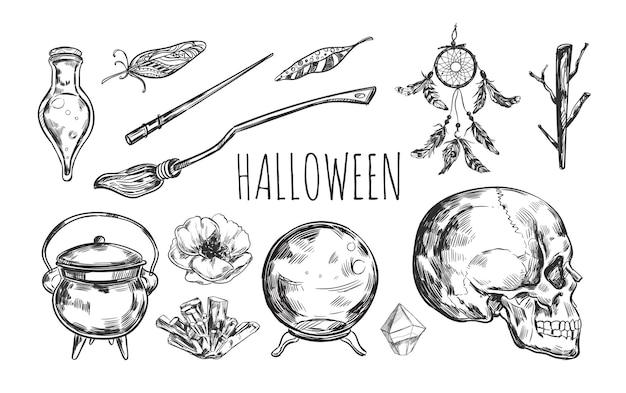 Collezione di halloween di stregoneria disegnata a mano Vettore Premium