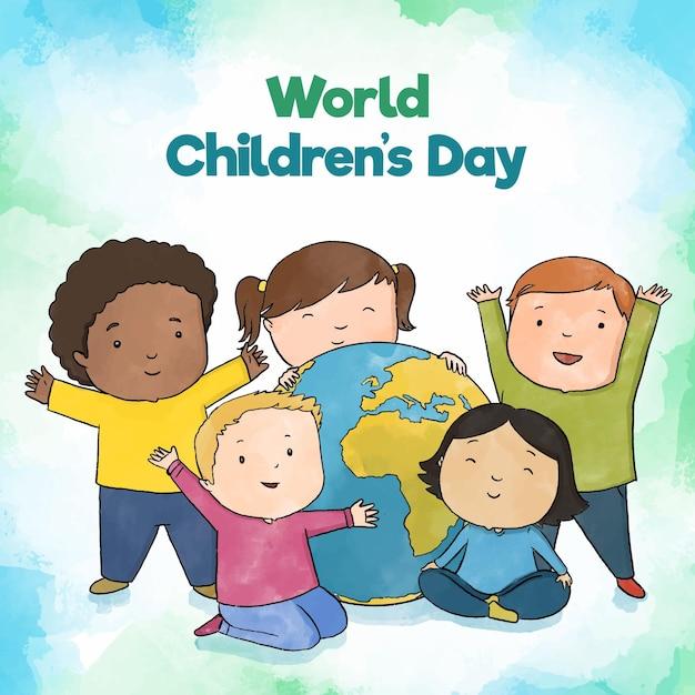 Concetto di giornata mondiale dei bambini disegnati a mano Vettore Premium