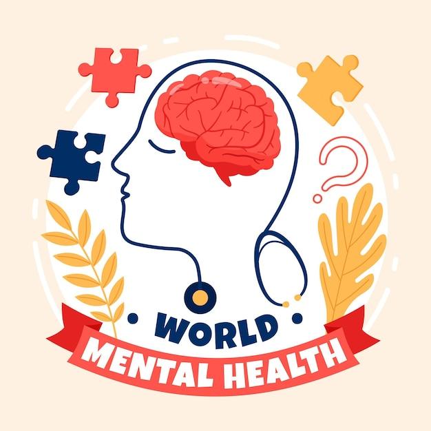 Giornata mondiale della salute mentale disegnata a mano con il cervello Vettore Premium