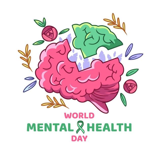 Giornata mondiale della salute mentale disegnata a mano Vettore Premium