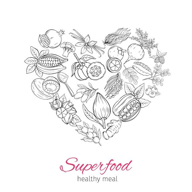 Superfood disegnato a mano Vettore Premium