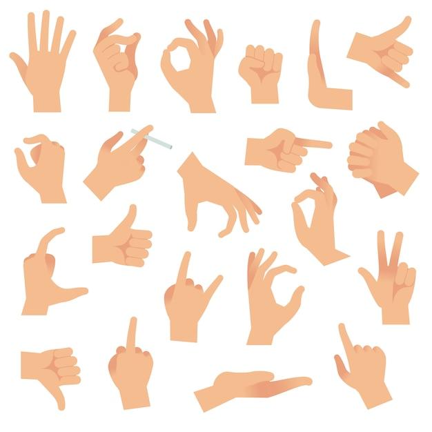 Gesti delle mani. indicare il gesto del dito umano, aprire il segnale manuale. accumulazione dei segni di attenzione di comunicazione del braccio Vettore Premium