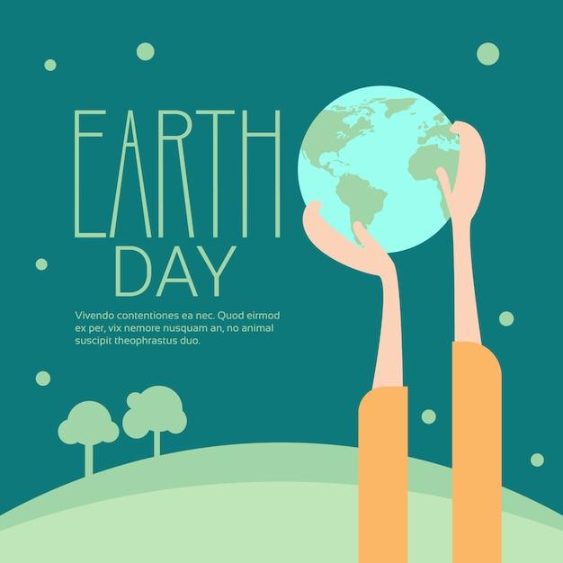 Concetto ecologico globale di festa di protezione del mondo di giorno di terra del globo della tenuta della mano Vettore Premium