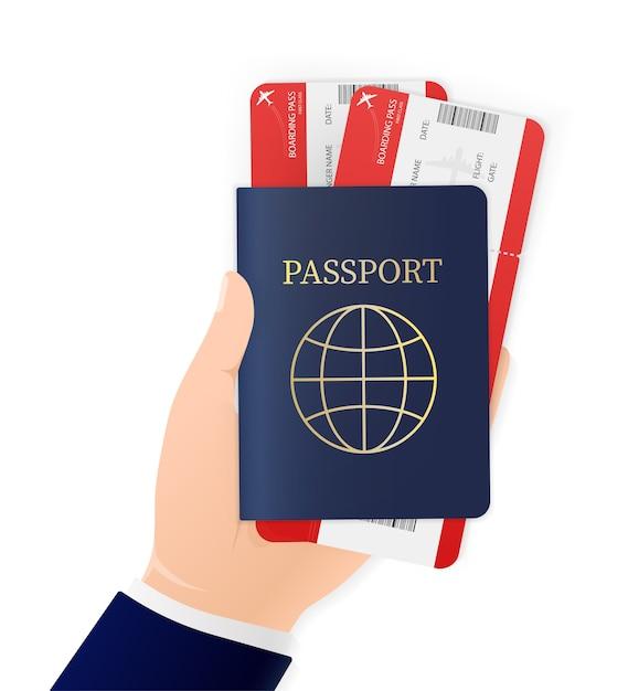 Mano, che tiene passaporto internazionale e biglietti aerei su sfondo bianco. icona illustrazione. icona . documento di identità. Vettore Premium