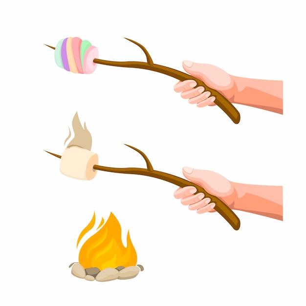 Mano che tiene marshmallow burning sul falò. illustrazione del fumetto di concetto isolata nel fondo bianco Vettore Premium