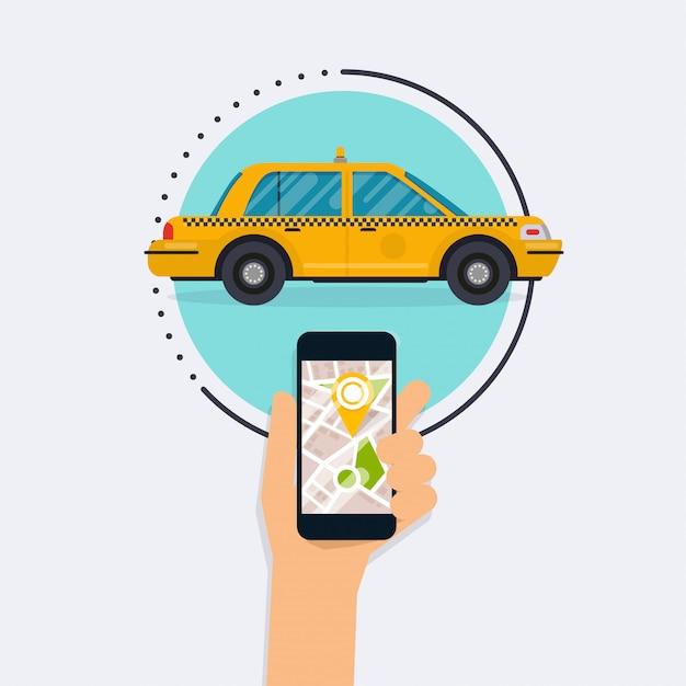 Mano che tiene il cellulare smart phone con taxi ricerca app mobile. vector la progettazione grafica moderna piana di informazioni creative sull'applicazione pubblica di servizio di taxi. concetto moderno di design piatto. Vettore Premium