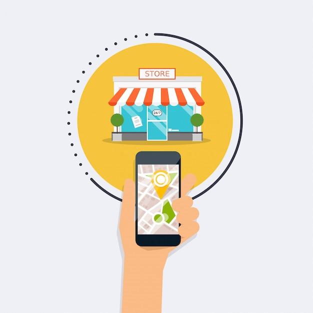 Mano che tiene il cellulare smart phone con il negozio di ricerca di applicazioni mobili. trova il più vicino sulla mappa della città. concetto moderno di stile di design piatto. Vettore Premium