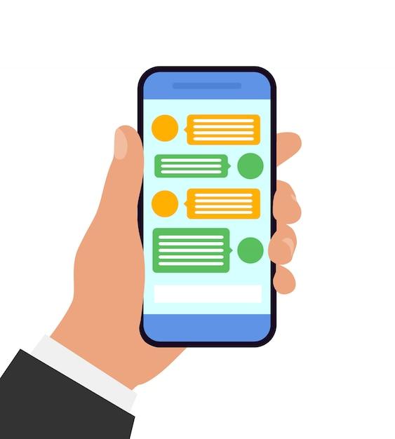 Mano che tiene smartphone. concetto di chat e messaggistica. illustrazione. design piatto. Vettore Premium