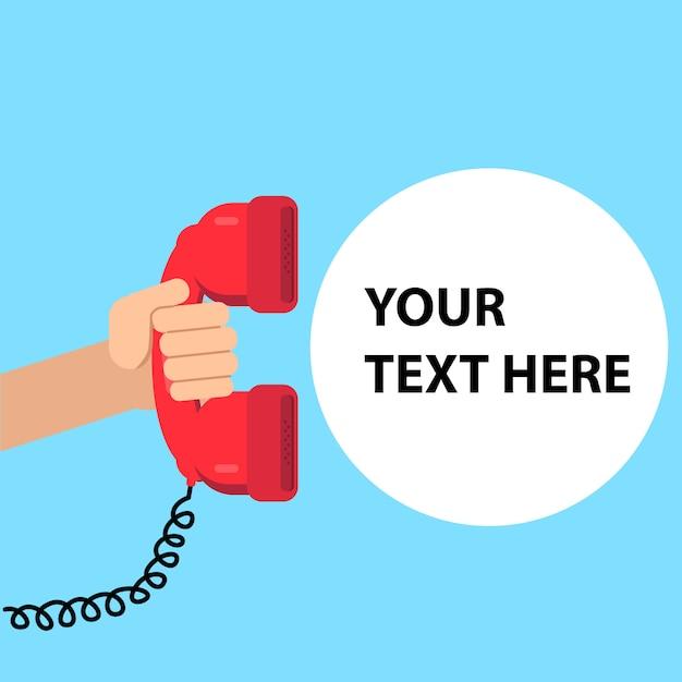 Mano che tiene il telefono. servizio di assistenza Vettore Premium