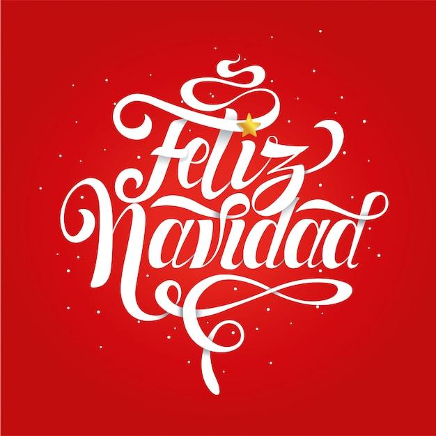 Buon Natale In Spagnolo.Scritte Per Natale Fatte A Mano Con Il Messaggio Buon Natale In Spagnolo Su Sfondo Rosso Vettore Premium