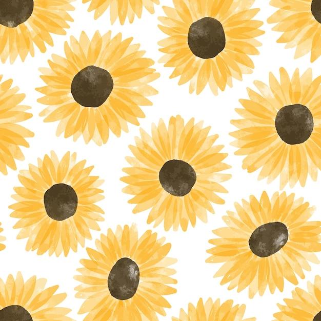 Ripetizione floreale dell'acquerello del fiore del sole dipinto a mano Vettore Premium