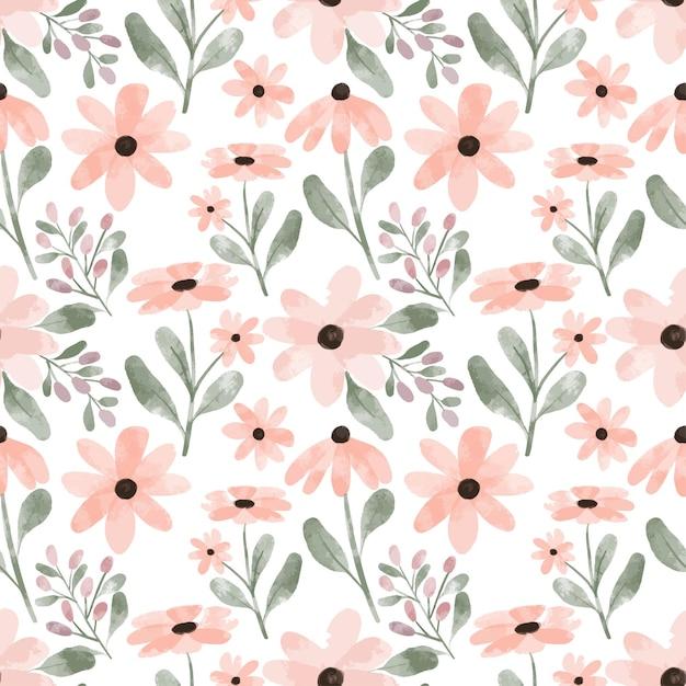 Fondo del modello di ripetizione del fiore del petalo dell'acquerello dipinto a mano Vettore Premium