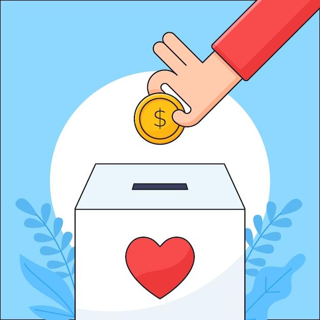 La mano ha messo la moneta dei soldi in un'illustrazione della scatola di carità per la progettazione di concetto di cura umana di donazione Vettore Premium