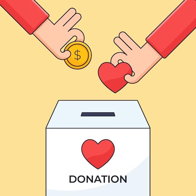 La mano ha messo il simbolo del cuore e della moneta dei soldi in un'illustrazione della scatola di carità per la progettazione di concetto di cura umana di donazione Vettore Premium