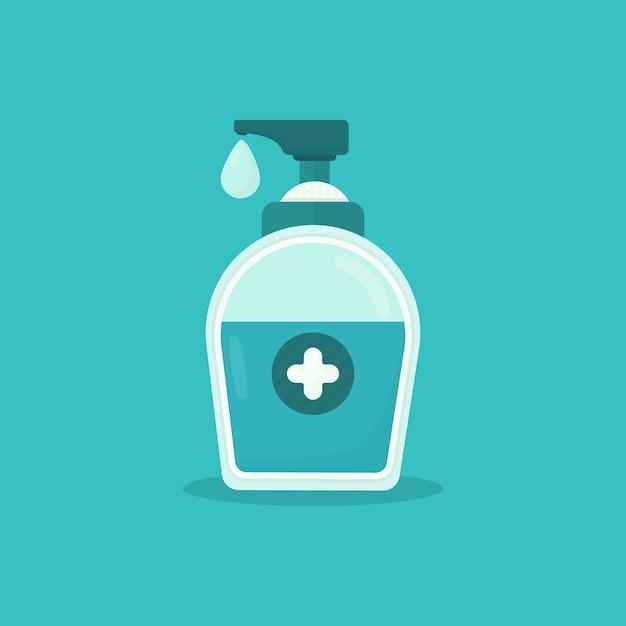 Gel lavamani con disinfettante per mani con croce medica Vettore Premium