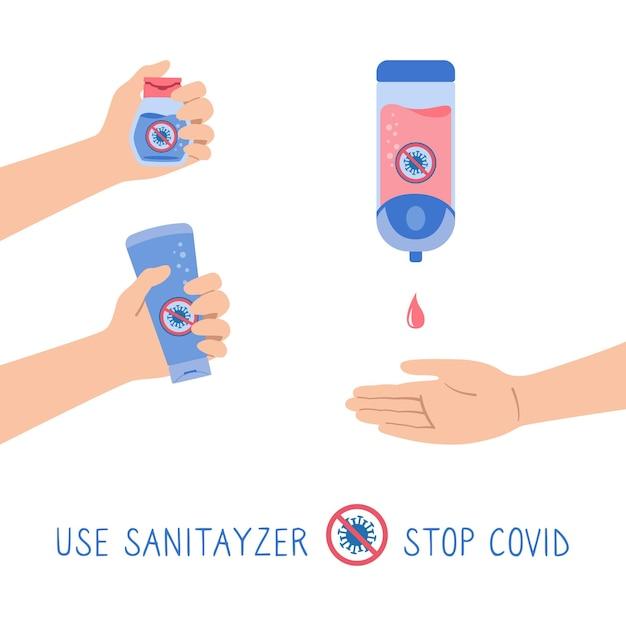 Gel da parete disinfettante per le mani, bottiglia, set di cartoni animati stop virus covid, le persone usano antisettici alcolici automatici Vettore Premium