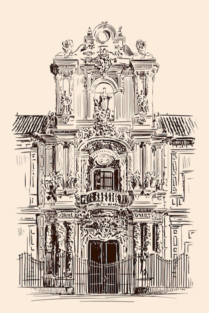 Schizzo a mano di una facciata di edificio nel classico stile rococò. ingresso frontale. Vettore Premium