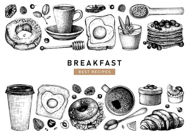 Raccolta di illustrazioni per la colazione disegnata a mano. modello di menu di cibo e bevande calde del mattino. sfondo di piatti colazione e brunch. schizzi di cibo disegnati a mano d'epoca. Vettore Premium
