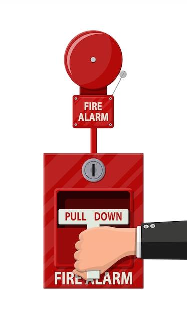 Sistema di allarme antincendio manuale. attrezzature antincendio. Vettore Premium