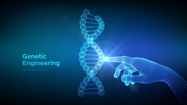 Mano che tocca la maglia della struttura delle molecole di sequenza del codice del dna. ingegneria genetica. Vettore Premium