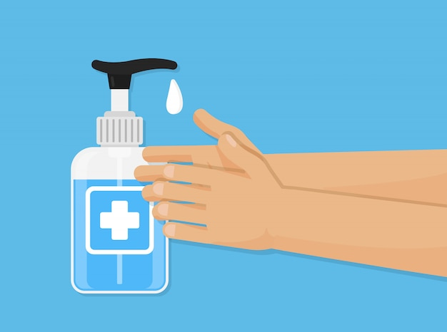 Illustrazione di gel per lavaggio a mano. disinfezione cura del botle. mano di risanamento Vettore Premium