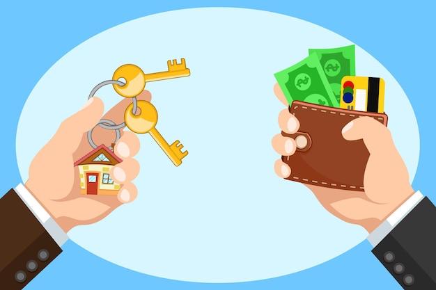 Mano con un portafoglio e le chiavi di una nuova casa, l'acquisto di immobili. comprare casa Vettore Premium