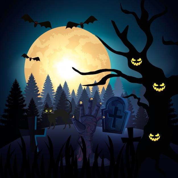 Mano dello zombie nella notte scura e nell'illustrazione di scena di halloween Vettore Premium