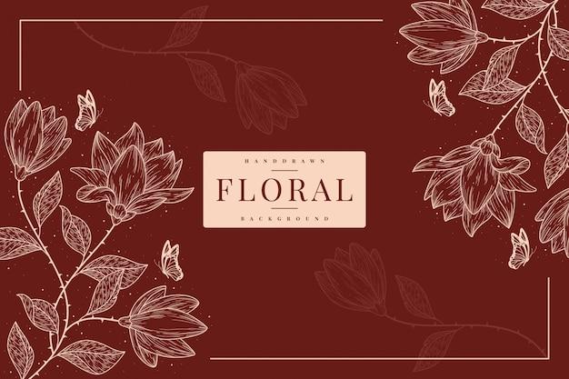 Modello di sfondo floreale vintage disegnato a mano Vettore Premium
