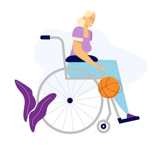 Donna disabile in sedia a rotelle a giocare a basket. atleta disabile sportiva, concetto di attività fisica di riabilitazione. Vettore Premium