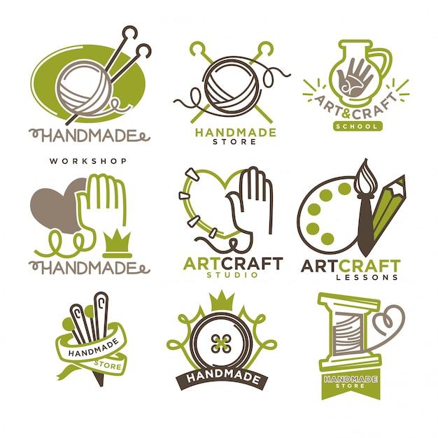 Distintivi fatti a mano di logo dell'officina con le immagini isolate su bianco Vettore Premium