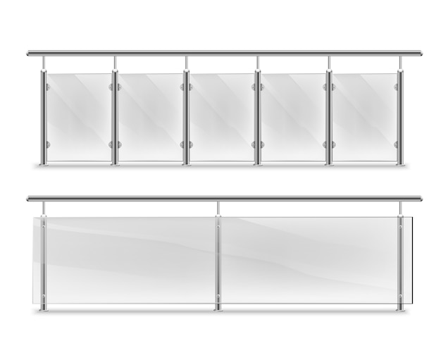 Corrimano con vetro per pubblicità. parapetto in vetro con corrimano in metallo incastonato. sezioni di recinzione con pilastri in acciaio. pannelli balaustre per architettura o costruire Vettore Premium