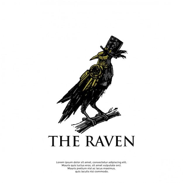 Modello di logo corvo steampunk disegnato a mano Vettore Premium