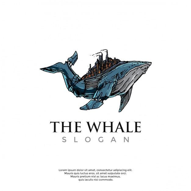 Modello logo balena steampunk disegnato a mano Vettore Premium