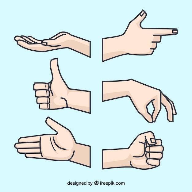 Collezione di mani con diverse pose in stile piano Vettore Premium