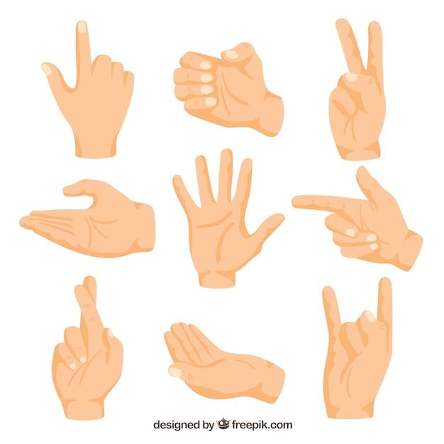 Collezione di mani con diverse pose in stile disegnato a mano Vettore Premium