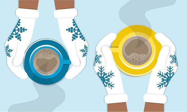 Le mani tengono tazze di caffè in guanti invernali lavorati a maglia. illustrazione accogliente di inverno di due amici che bevono caffè, cappuccino. Vettore Premium